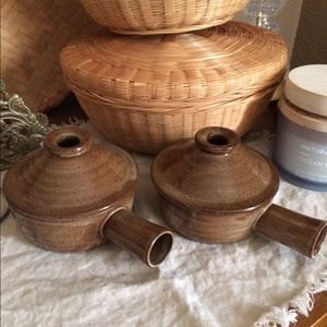 Vintage Pottery Crock bowls with handle